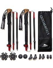 Steinwood Premium carbon wandelstokken - trekkingstokken - extra licht, verstelbaar met telescoop en klemsluiting met extra rubberen buffer en draagtas