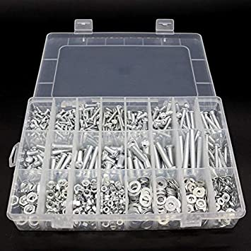 Color : Silver Hongyuantongxun 24 Grid Box with Multipurpose Pan Head Screws Kit Nut Gasket Screw Bolt Metal Screw Assortment Home Hardware Tools Accessories,
