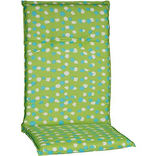 Beo Gartenstuhlauflage Polster für Hochlehner M711 getupft Weiss türkis mit grünem Hintergrund