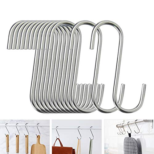 40 Pack S Hooks - Stainless Steel Heavy Duty S Hooks for Hanging pots, Pans, Plants, Coffee Mugs, Towels in Kitchen and Bathroom, Coat, Bag, Work Shop, Perfect Rack Hooks