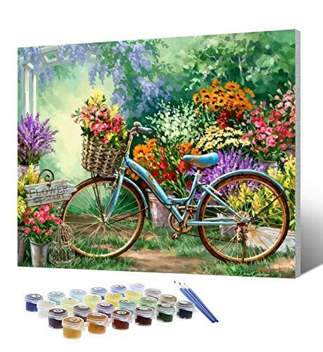 Pintura por números para adultos con marco, pintura al óleo de bricolaje sobre lienzo con 3 pinceles, pigmento acrílico para niños, manualidades para decoración de paredes del hogar, 16 x 20 pulgadas