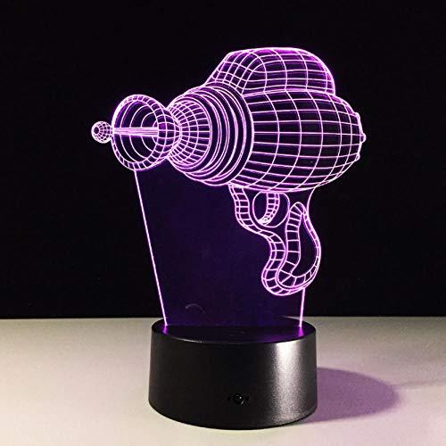 Nachtlicht Bohrmaschine Form Acryl 3D Stereo Vision Lampe Schlafzimmer Nachttischlampe 7 Farben Ändern Atmosphäre Lampe Werkzeug Geschenk