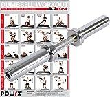 POWRX Kurzhantelstange inkl. Workout I Olympia Hantelstange verchromt & gerändelt I Hantel 50 cm x...