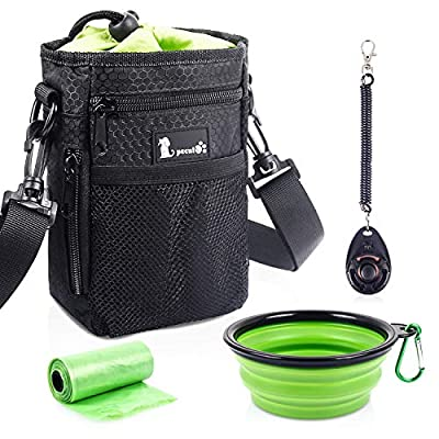 Pecute Waterproof Dog Treat Pouch Bag with Multiple Pockets,Adjustable Belt 3 Ways to Wear, Built-in Poo Bag Dispenser, 3 Bonus, Brilliant for Carry Things Training Walking Outside