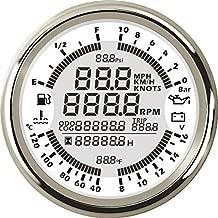 ELING 6 in 1 Multi-Functional Gauge Meter GPS Speedometer Tachometer Hour Water Temp Fuel Level Oil Pressure 10Bar Voltmeter 12V 85mm with Backlight