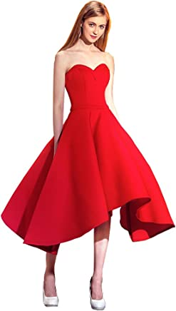 204e347a4286 Mypuffgirl Women's Red Sweetheart Satin Knee Length A Line Homecoming Party  Dress