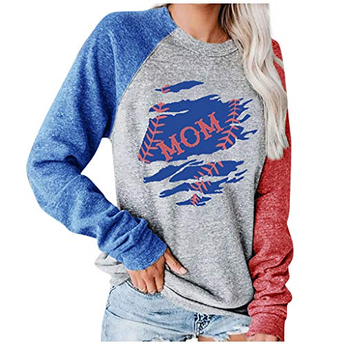 Star Drucken Farbblock Sweatshirt Damen Langarm Pullover Bluse Sweatshirt