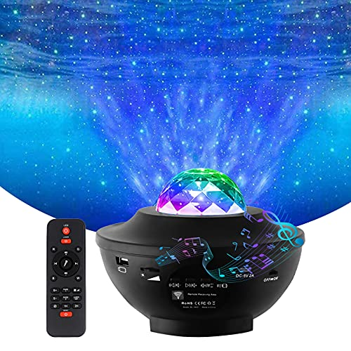 Yiliaw Star Projector Night Light Ocean Wave Projector with Bluetooth Music Speaker Timing Function,10 Lighting Modes and Adjustable Brightness Suitable for Home Theater/Kids Adults Room Decoration
