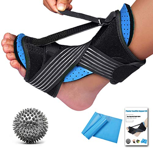 2020 New Upgraded Night Splint for Plantar Fascitis, Breathable & Adjustable Sleep Support Foot Drop Orthotic Brace for Plantar Fasciitis, Arch Foot Pain, Achilles Tendonitis Support for Women, Men