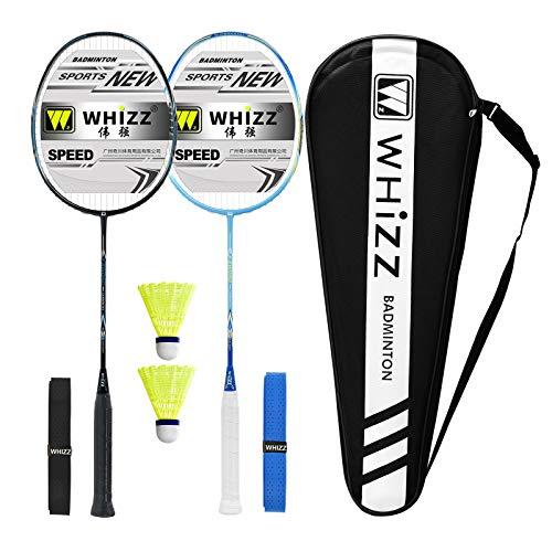 Whizz Kratzfestes Design Badminton Schläger Racket Set mit Tasche Griffband, 100{3bf834b107e85c24df3ca0065682dc27222830bb56a710960eec455945d4c00d} Graphit