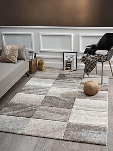 Monde Deluxe - Alfombra para salón, diseño de mano tallada, pelo corto, marrón, beige, diseño cuadrado, 80 x 150 cm