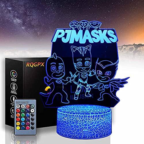 PJ Mas - Lámpara de noche para bebé, 16 colores cambiantes, regalo perfecto para cumpleaños, Navidad, para bebés, adolescentes, amigos