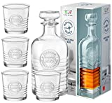 Bormioli Rocco Set OFFICINA Whisky-Karaffe 100 cl + 4 Whiskygläser à 30 cl, exklusives Geschenk-Set, Spirituosen-Set, aus robustem Glas, transparent