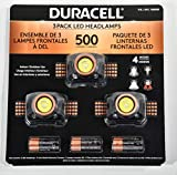 Duracell LED Headlamps 500 Lumens, 4 Light Modes, Weather Resistant, 3 Pack