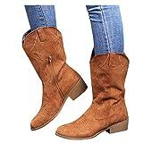 Bcshiye Botas de tobillo cortas con puntera redonda y cremallera lateral para mujer, 10.5, Marrón