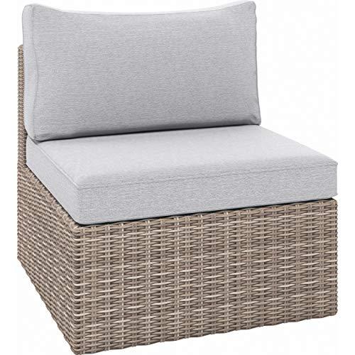 Euromate GmbH Lounge-Sessel Olea aus Polyrattan Sandfarben | Maße: Höhe 65 cm x Breite 64 cm x Tiefe 71 cm, witterungs- und UV-beständig, trocknet sehr schnell