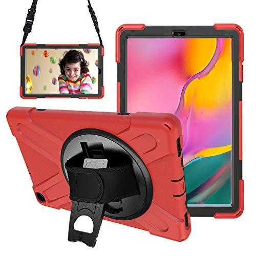 Gerutek Hülle für Samsung Galaxy Tab A T510 / T515 (10,1 Zoll), Stoßfeste Robust Panzerhülle mit Drehbar Stände, Handschlaufe, Schultergurt Schutzhülle für Samsung Tab A 10.1 2019 T510 / T515, Rot