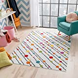 Well Woven Modern Rug Dandy Dots and Stripes Ivory 5'X7'Accent Area Rug Entry Way Bright Kids Room Kitchn Bedroom Carpet Bathroom Soft Durable Area Rug
