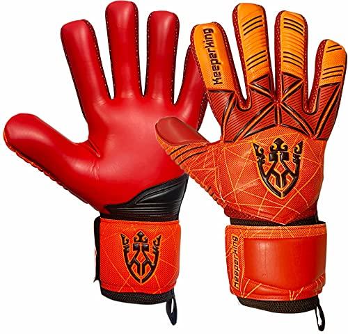 Keeperking Guantes de portero para adultos y niños, jóvenes con y sin protección para los dedos, guantes de fútbol extraíbles, 4 mm, unisex, color rojo