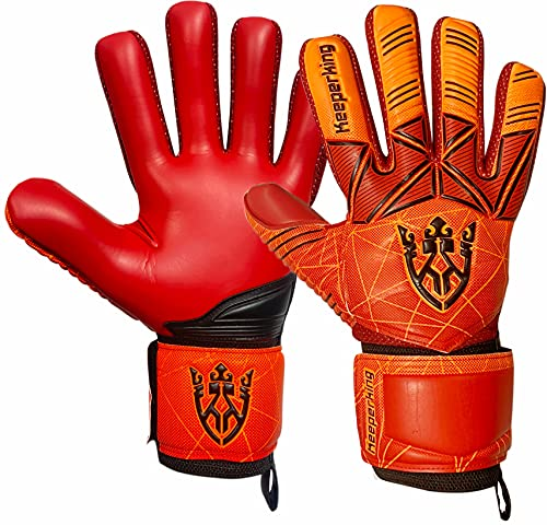 Keeperking Guantes de portero para adultos y niños, jóvenes con y sin protección para los dedos, guantes de fútbol extraíbles, 4 mm, unisex (5, rojo extraíble)