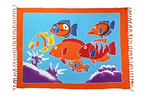 Ciffre 2 er Set Original Yoga Sarong Pareo Wickelrock Strandtuch Rund ca 170cm x 1110cm Handtuch Schal Kleid Wickeltuch Wickelkleid Kinder Traum - Fische Bunt