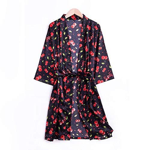 who-care Bedruckter Braut-Bademantel für Damen, Satin, seidige Blume, Kimono, sexy,...