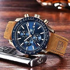 BENYAR Waterproof Chronograph Men Watches Fashion Casual Leather Band Strap Wrist Watch (Brown Blue) #2