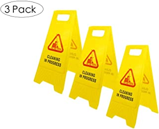 LTF 3 Pack Cleaning in Progress Sign in Bright Yellow Color with Vivid Sweeping Symbol, 2-Sided Folding Warning Safety Sign with English and Spanish Bilingual Printed
