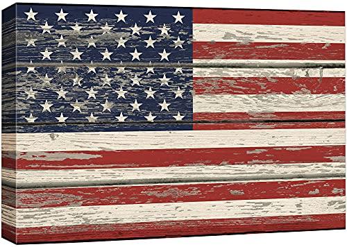 wall26 - USA-Flagge auf Vintage-Holzhintergr&, Kunstdruck auf Leinwand, 40,6 x 61 cm