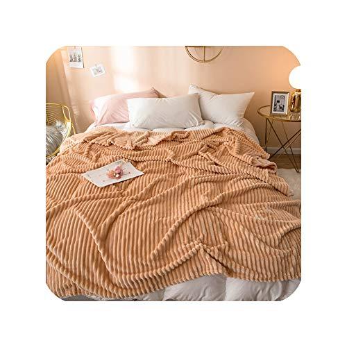 Special shine-shop - Manta de franela para sofá o cama, diseño de rayas de otoño, invierno, color sólido, suave y cálida, 200 x 230 cm, color azul marino, algodón, marrón, 120x200cm