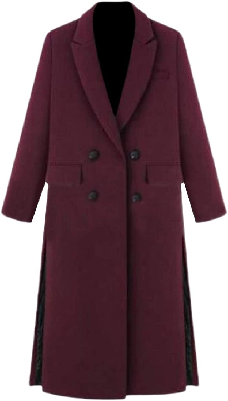 Winme Women Double Button Brumal Wool Blends Warm Slim Classic Pea Coat
