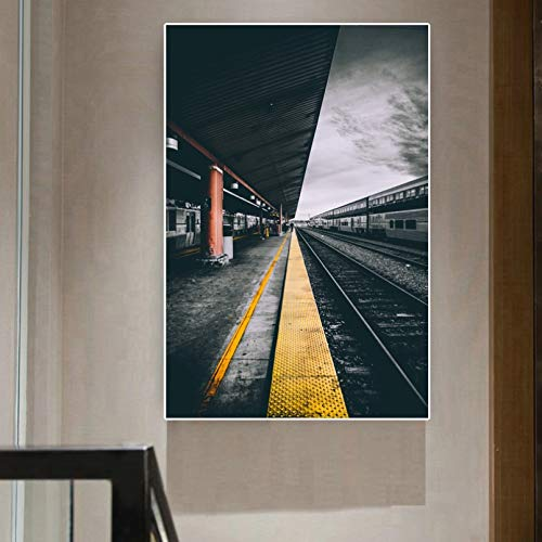 N/A Pittura su Tela Stampa Railway Road Train Station Pictures Canvas Painting Wall Art Pictures for Living Room Bedroom Decoration No Frame Casa Muro Decorazione Regalo