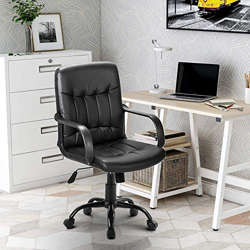 Merax Office Swivel Chair Faux Leather Black Height Adjustment and Rocker Function with Armrests