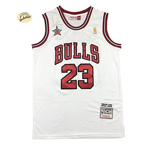 CLKJ Michael Jordan # 23 Bulls 98 All-Star Basketball-Trikot, für Jugendliche, Herren, bestickt, Retro-Weste, Sommer, Outdoor, Mode, Netz-Sweatshirt (S-2XL)-XXL