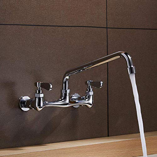 Kitchen Faucet Wall Mount Commercial Sink Faucet Kitchen Utility Laundry 8 Inch Swivel Spout 2 Dual Handle Restaurant Chrome Mixer Tap NSF Lead Free