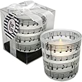 Gift House Music Frosted Candle Holder with Tea Light