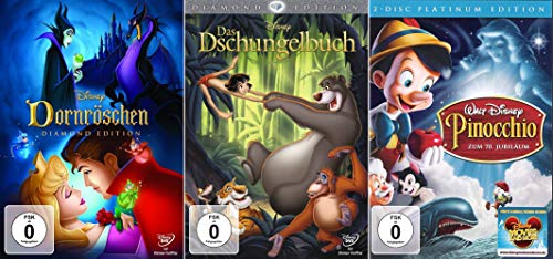 Walt Disney Collection: Dornröschen - Diamond Edition + Das Dschungelbuch - Diamond Edition + Pinocchio - Platinum [4- DVD]