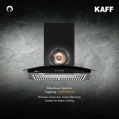 Kaff ACE BF 60   Heavy Duty Baffle Filter    Black Curved Tempered Glass   Matt Black Rust Free Coating   Soft Push Button Control