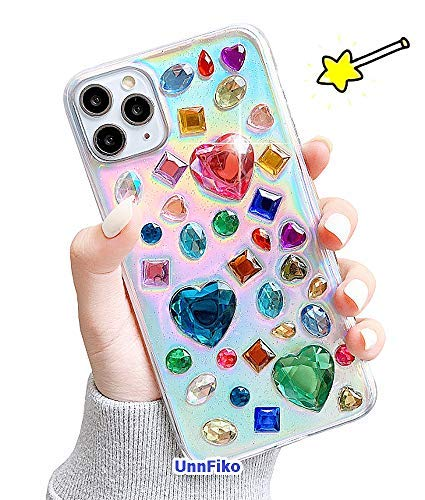 UnnFiko 3D Clear Case Kompatibel mit iPhone 11 Pro Max, Super Cute Cartoon Diamonds, Funny Creative Soft Protective Case Cover for Teen Girls Women (Colorful Diamonds, iPhone 11 Pro Max)