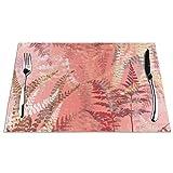 DearLord Manteles individuales de mesa, resistentes al calor, lavables, de PVC, modernos, elegantes, de color rosa coral, hojas de helecho, manteles individuales de vinilo tejidos, juego de 4