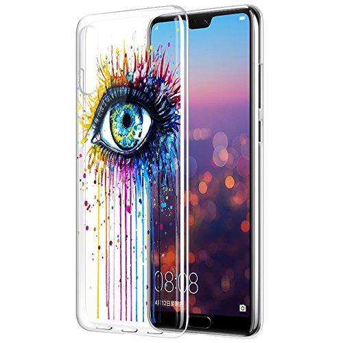 Eouine Huawei P20 Pro Hülle, Ultra Dünn Schutzhülle Silikon Transparent mit Muster Motiv Handyhülle Weich TPU Bumper Case Backcover für Huawei P20 Pro Smartphone (Auge)