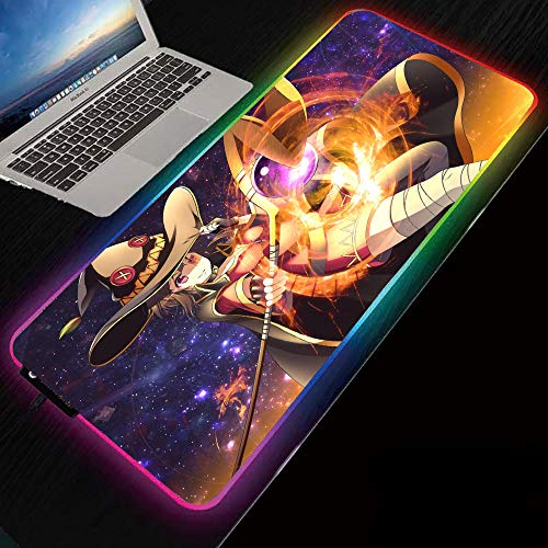 Mouse Pads Anime Konosuba Magic Girl Megumin RGB Gaming Mouse Pad,Ergonomic Larger Extended Mouse Mat with Durable Stitched Edge Non-Slip Base for Gamer, Computer,Laptop-RGB_19.69'x39.37'