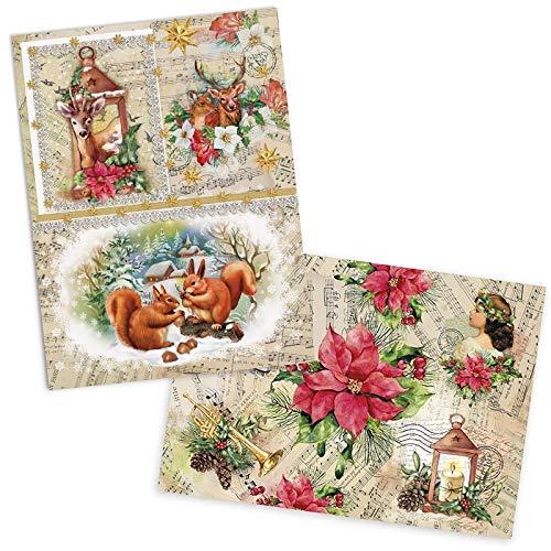 Ideen mit Herz, 2 fogli di carta di riso, carta pregiata per decoupage, DIN A4, 2 diversi motivi, vintage, Natale e altri