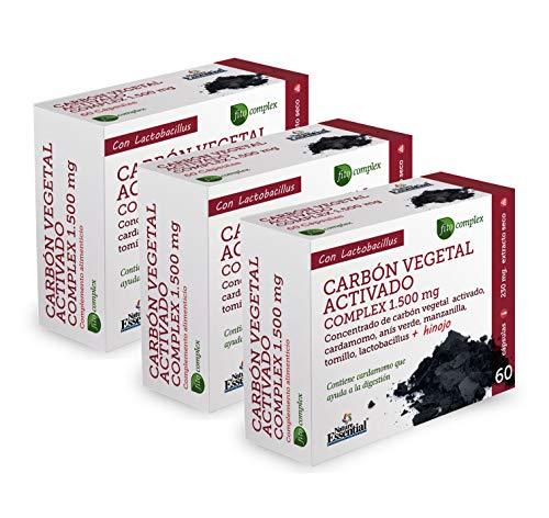 NATURE ESSENTIAL | Carbón vegetal activado (complex) 1500 mg | Extracto Seco 60 Cápsulas (Pack 3 unid.)