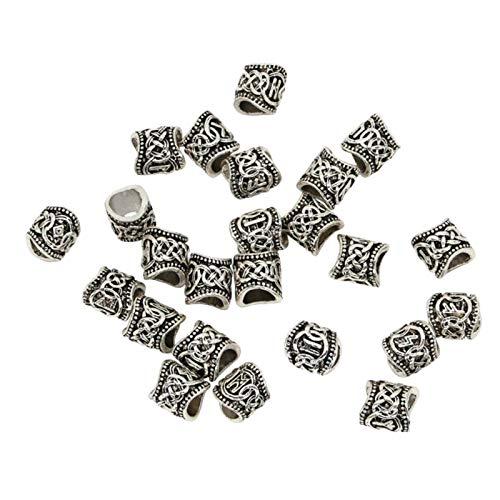 perfeclan 24 Piezas Vikingo Barba Beads Anillos Joyería para El Cabello Bead Rune Dreadlock Jewelry