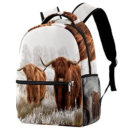 RuppertTextile Zaino per ragazze e ragazzi Bookbag Multiuso Daypack Borsa da viaggio all'aperto Parco nazionale scozzese Highlanders con tasca taglia Size