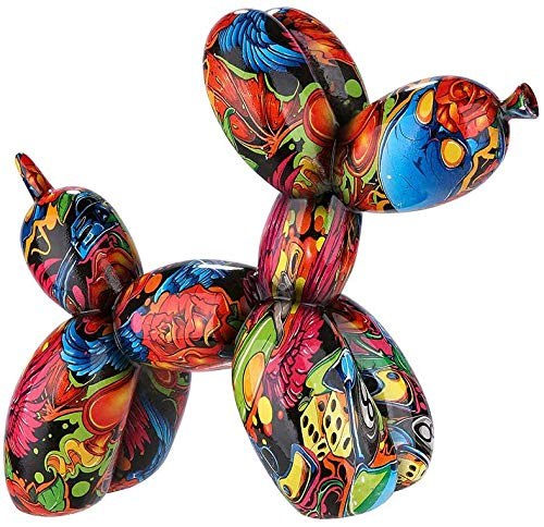 Dreamlight Moderne Skulptur Dekofigur Ballon Hund POP Art aus Kunststein Mehrfarbig 22x18 cm
