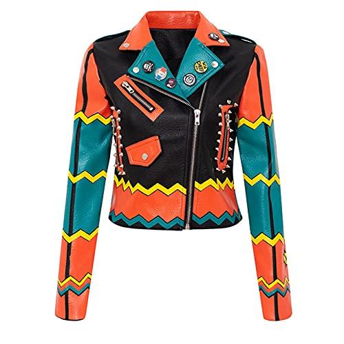 YHNY Damen Lederjacke Graffiti Gedruckt Motorradfahrer Slim Kurzmantelanzug Ausschnitt Punk Rock Casual Sweatshirt orange-S