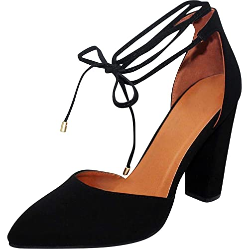 b9b3fee26d47c Cambridge Select Women's D'Orsay Closed Pointed Toe Ankle Tie Chunky Block  Heel Pump