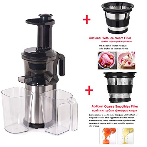 200W 40RPM Stainless Steel Masticating Slow Auger Juicer Fruit and Vegetable Juice Extractor Compact Cold Press Juicer Machine,With 3 Strainers,AU,220-240V 50 60Hz